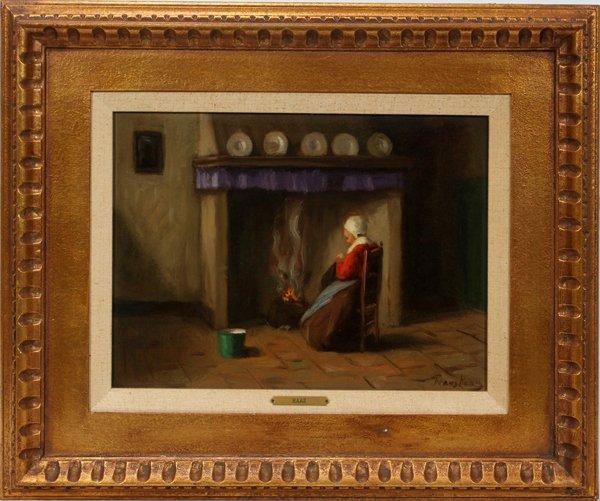 102003: FRANS DE HAAS OIL ON CANVAS, DUTCH WOMAN