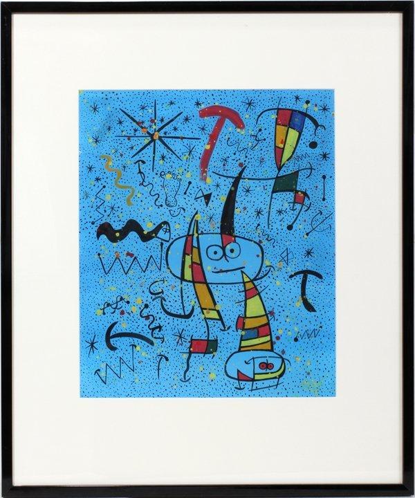 102017: ATT. TO JOAN MIRO GOUACHE ON PAPER, C. 1967,