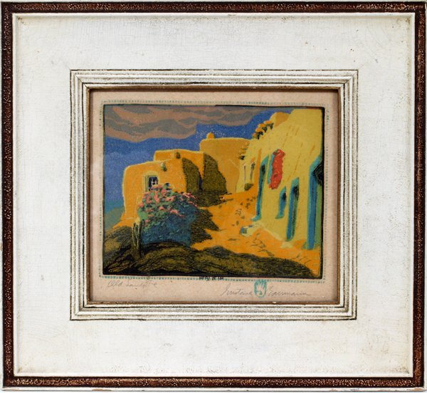 102019: GUSTAVE BAUMANN COLOR WOODCUT ON FLAX PAPER,