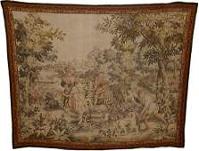 110036: KINGS HUNTING PARTY, FRENCH WOOL TAPESTRY,