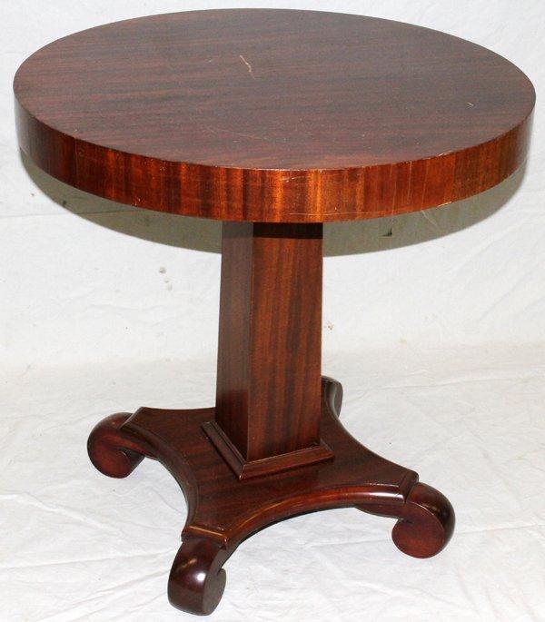 110111: EMPIRE STYLE MAHOGANY ROUND TABLE, CIRCA  1920