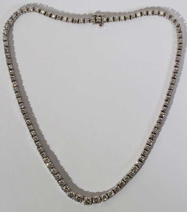 111009: 14KT WHITE GOLD & DIAMOND NECKLACE, L 16""