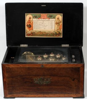 SWISS ROSEWOOD MUSIC BOX, C. 1900, W 24""