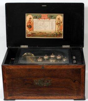 "111016: SWISS ROSEWOOD MUSIC BOX, C. 1900, W 24"""