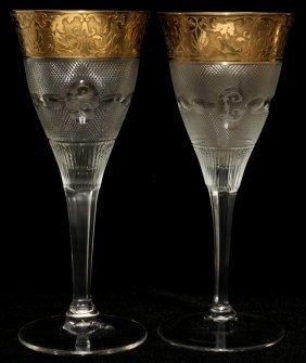 111017: MOSER 'SPLENDID (GOLD)' GLASS WATER GOBLETS,