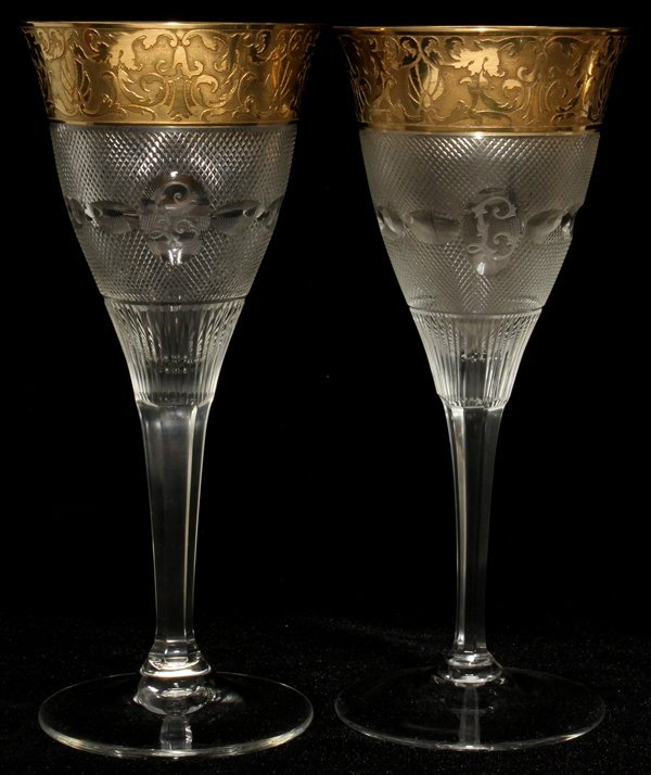 111017: MOSER 'SPLENDID (GOLD)' GLASS WATER GOBLETS,