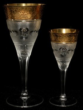 111019: MOSER 'SPLENDID (GOLD)' GLASS WINES, FIVE,