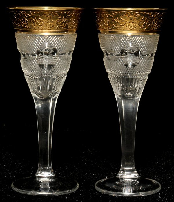 111021: MOSER 'SPLENDID (GOLD)' GLASS CORDIALS, SEVEN