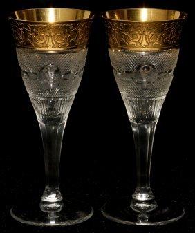 111022: MOSER 'SPLENDID (GOLD)' GLASS SHERRYS, SIX,