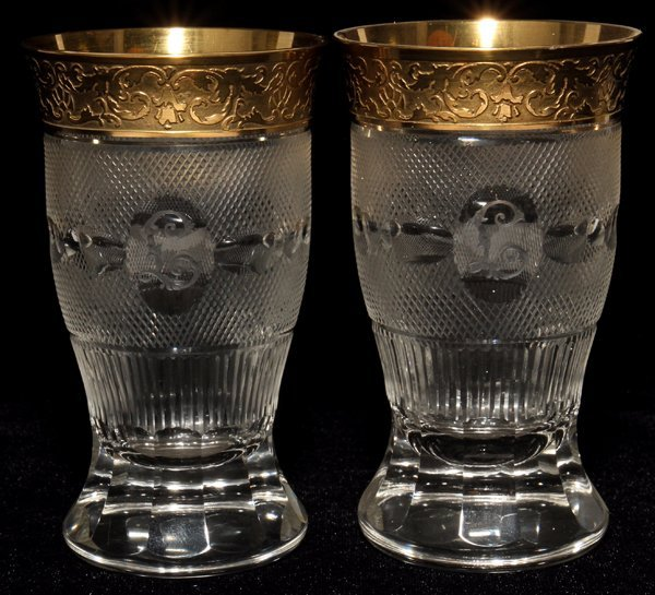 111024: MOSER 'SPLENDID (GOLD)' GLASS TUMBLERS, ELEVEN