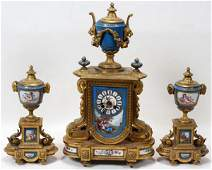 111031 FRENCH PORCELAIN  GILT BRONZE CLOCK GARNITURE