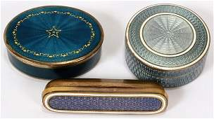 111075: NORWEGIAN, FRENCH, OTHER GUILLOCHE ENAMEL BOXES