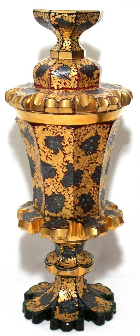 111120: BOHEMIAN GILT-DECORATED COVERED GLASS/POKAL,