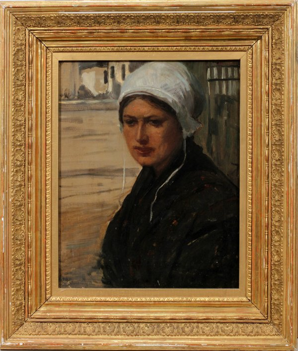 112011: ANTIQUE OIL ON CANVAS, BRITTANY WOMAN