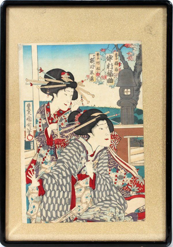112398: TOYOKUNI, UKIYO-E COLOR WOODBLOCK PRINT,