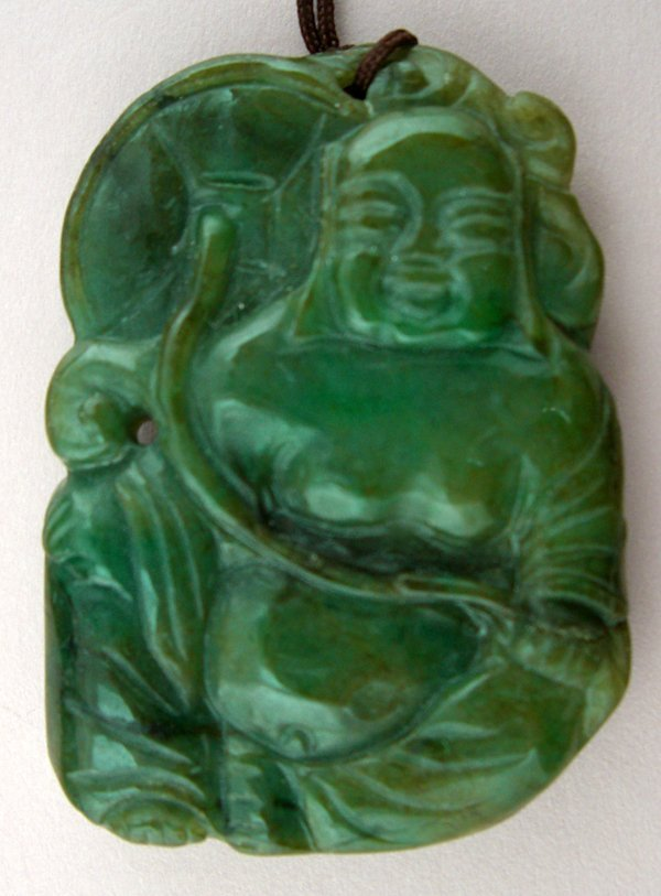 120005: CHINESE CARVED GREEN JADE FIGURE OF BUDDHA,