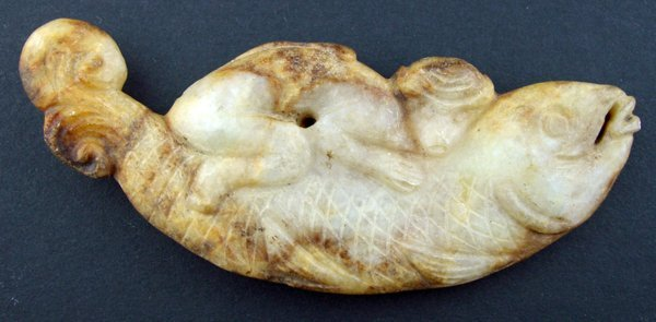 """120014: CHINESE CARVED FIGURE OF A FISH, L 4"""""""