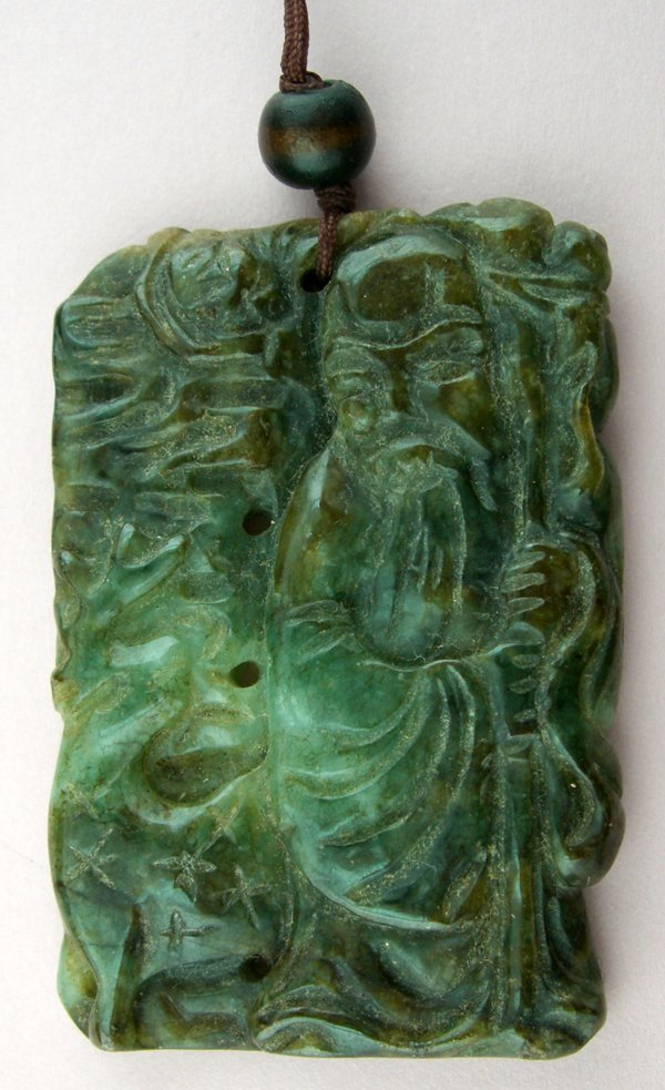 """120017: CHINESE CARVED JADE PENDANT, L 2 1/2"""""""