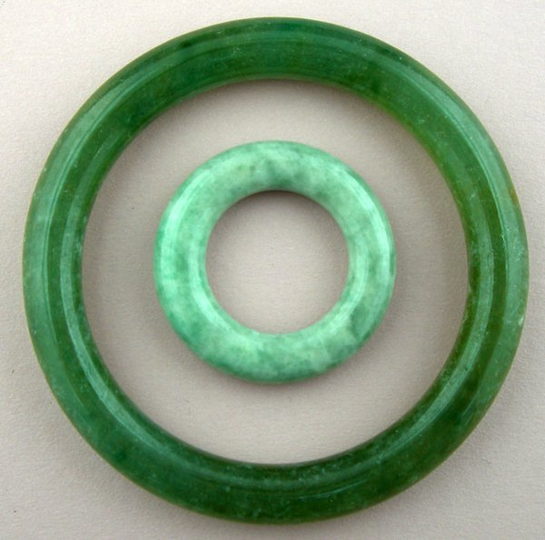 120021: CHINESE CARVED JADE RING & BRACELET, TWO,