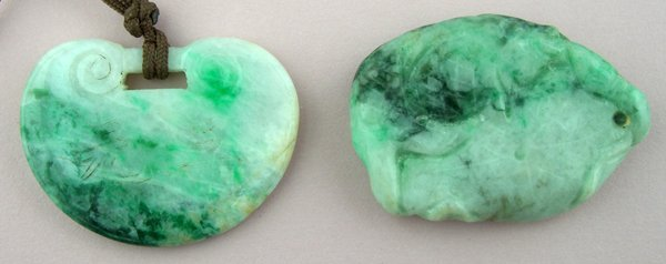 """120022: CHINESE CARVED JADE PENDANTS, TWO, L 1 1/2"""""""