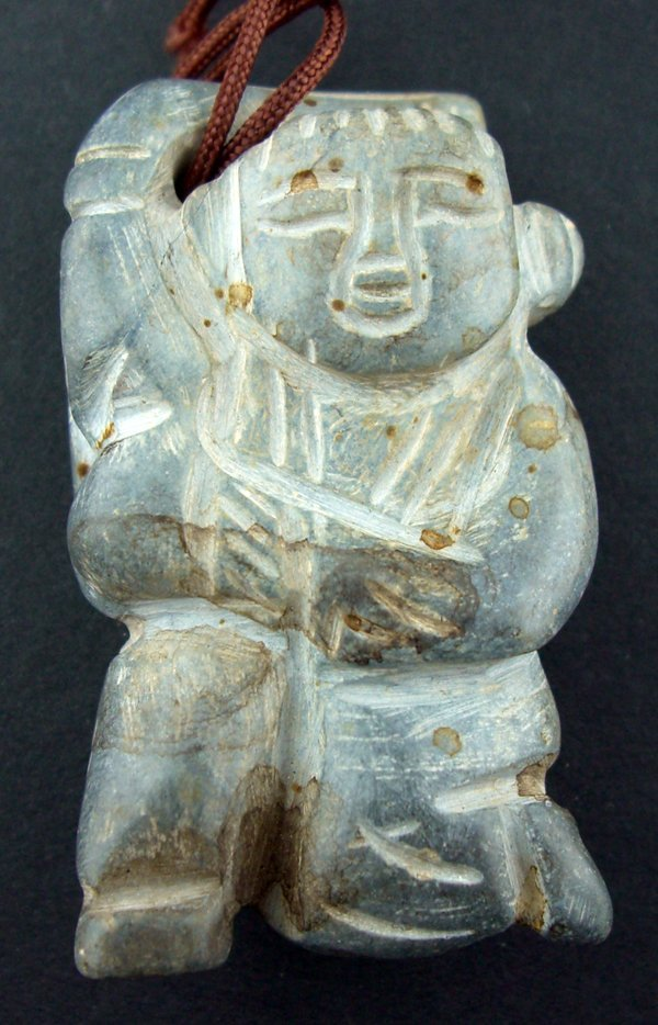 """120023: CHINESE CARVED GREY JADE FIGURAL PENDANT, H 2"""""""
