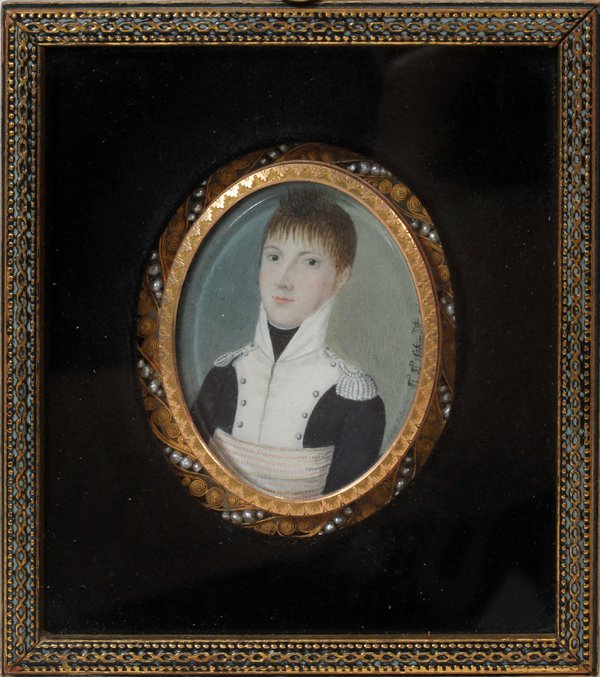 121002: F. F. SCHMIDT, HAND-PAINTED PORTRAIT MINIATURE