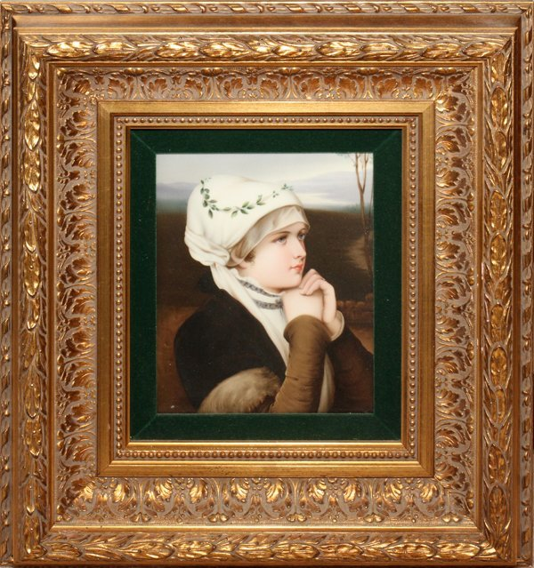 "121003: KPM PAINTED PORCELAIN PLAQUE, 9"" X 7 1/4"""