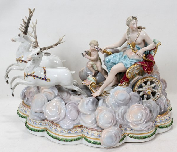 "121005: MEISSEN PORCELAIN FIGURAL GROUP, H 12"", W 17"""
