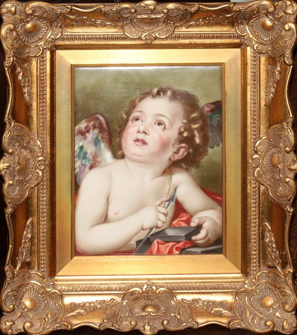 "121007: KPM PAINTED PORCELAIN PLAQUE, 12"" X 9"""