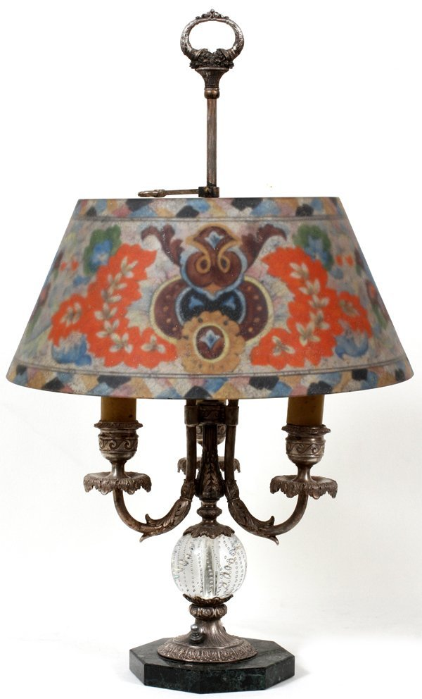 121012: PAIRPOINT REVERSE PAINTED GLASS TABLE LAMP
