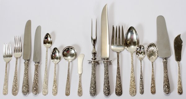 121015: KIRK REPOUSSE STERLING FLATWARE SET, 50 PIECES