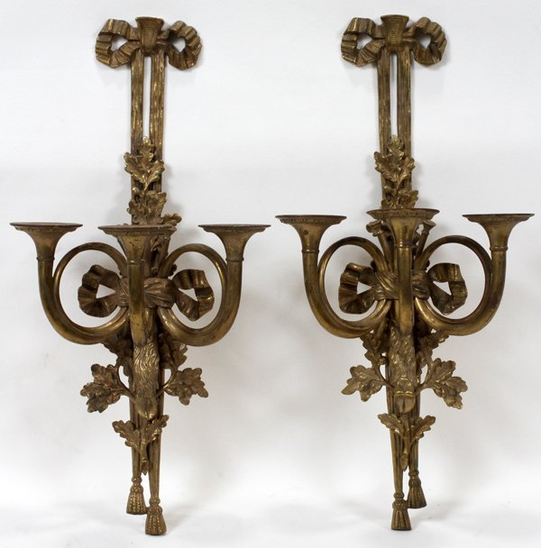 121022: FRENCH BRONZE THREE-LIGHT SCONCES, PAIR, H 20""
