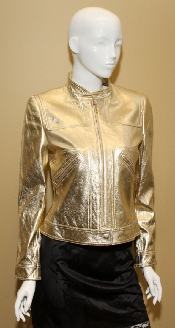 121331: ESCADA METALLIC LEATHER MOTORCYCLE JACKET