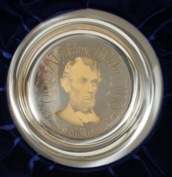 THE FRANKLIN MINT STER. & ABRAHAM LINCOLN PLATE
