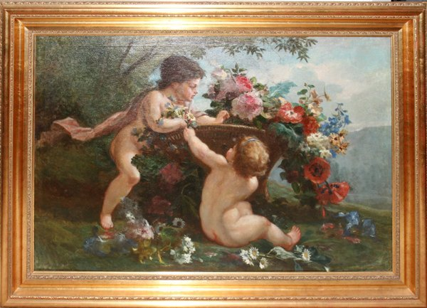 "122010: OIL ON CANVAS, 28"" X 43"" CHERUBS AMONG FLOWERS"