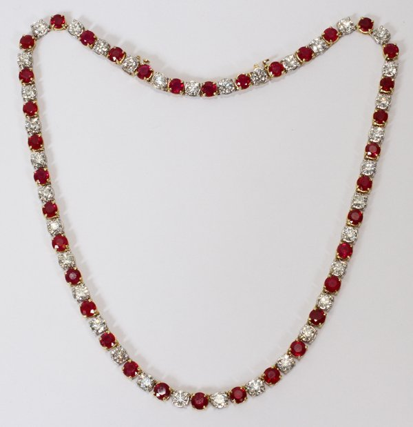 122047: 28CT NATURAL BURMA RUBY & 21CT DIAMOND NECKLACE