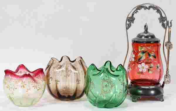 122459: VICTORIAN ENAMELED GLASS ROSE BOWLS & CANISTER