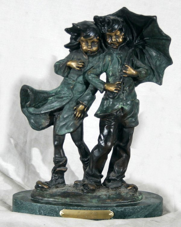 "010007: AFTER A. MOREAU, BRONZE SCULPTURE, ""RAINY DAY"""