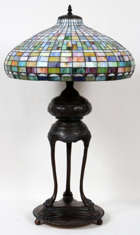 010011: BRONZE LEADED GLASS LAMP, MODERN