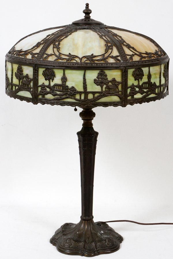 "010016: VINTAGE SLAG GLASS TABLE LAMP, H 26"", DIA 18"""