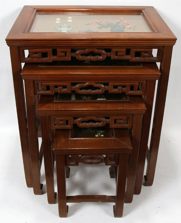 010184: CHINESE, WOOD AND GLASS TOP NEST OF TABLES