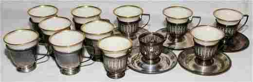 011273 GORHAM STERLING  PORCELAIN DEMITASSE CUPS