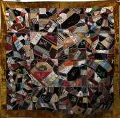 011413 PIECED  EMBROIDERED CRAZY QUILT SIGNED