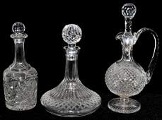 011464: CRYSTAL DECANTERS, THREE, INCLUDING WATERFORD
