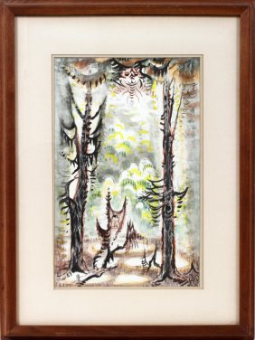 CHARLES BURCHFIELD, WATERCOLOR & CRAYON
