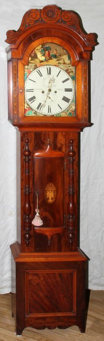 R & A ALLAN, CUMNOCK, SCOTTISH MAHOGANY CLOCK