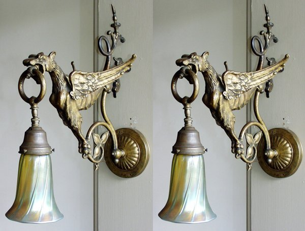 012021: BRASS AND ART GLASS EAGLE-FORM SCONCES, PAIR