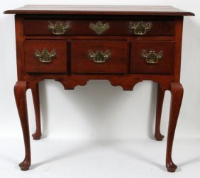 012023: QUEEN ANNE MAHOGANY LOWBOY, 19TH C., H 31""