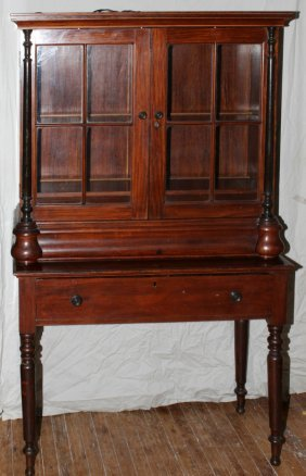 012024: TWO-DOOR CHINA CABINET, 19TH.C, H 85""