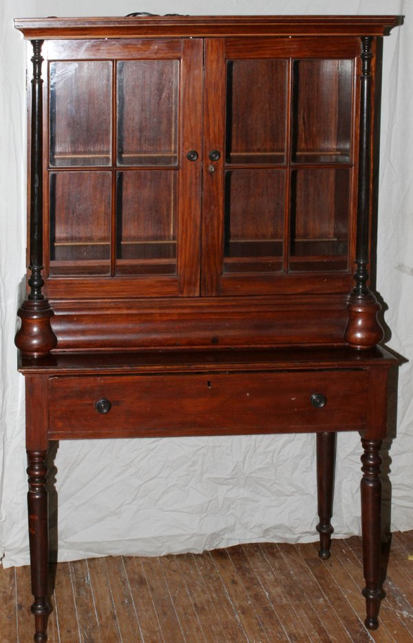 """012024: TWO-DOOR CHINA CABINET, 19TH.C, H 85"""""""